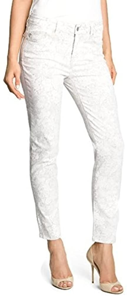 NYDJ Alisha Print Skinny Stretch Ankle Jeans Cream Gray Floral Womens 4P