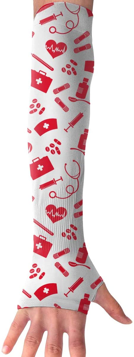 SARMY Anti-UV Gloves Red Nurse Pattern Long Fingerless Protective Arm Cooling Sleeves