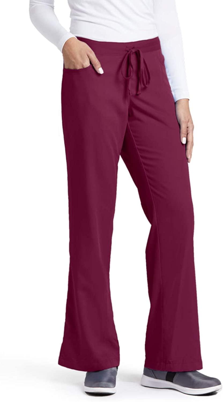 Grey's Anatomy Women's Junior-Fit Five-Pocket Drawstring Scrub Pant - Medium - Wine