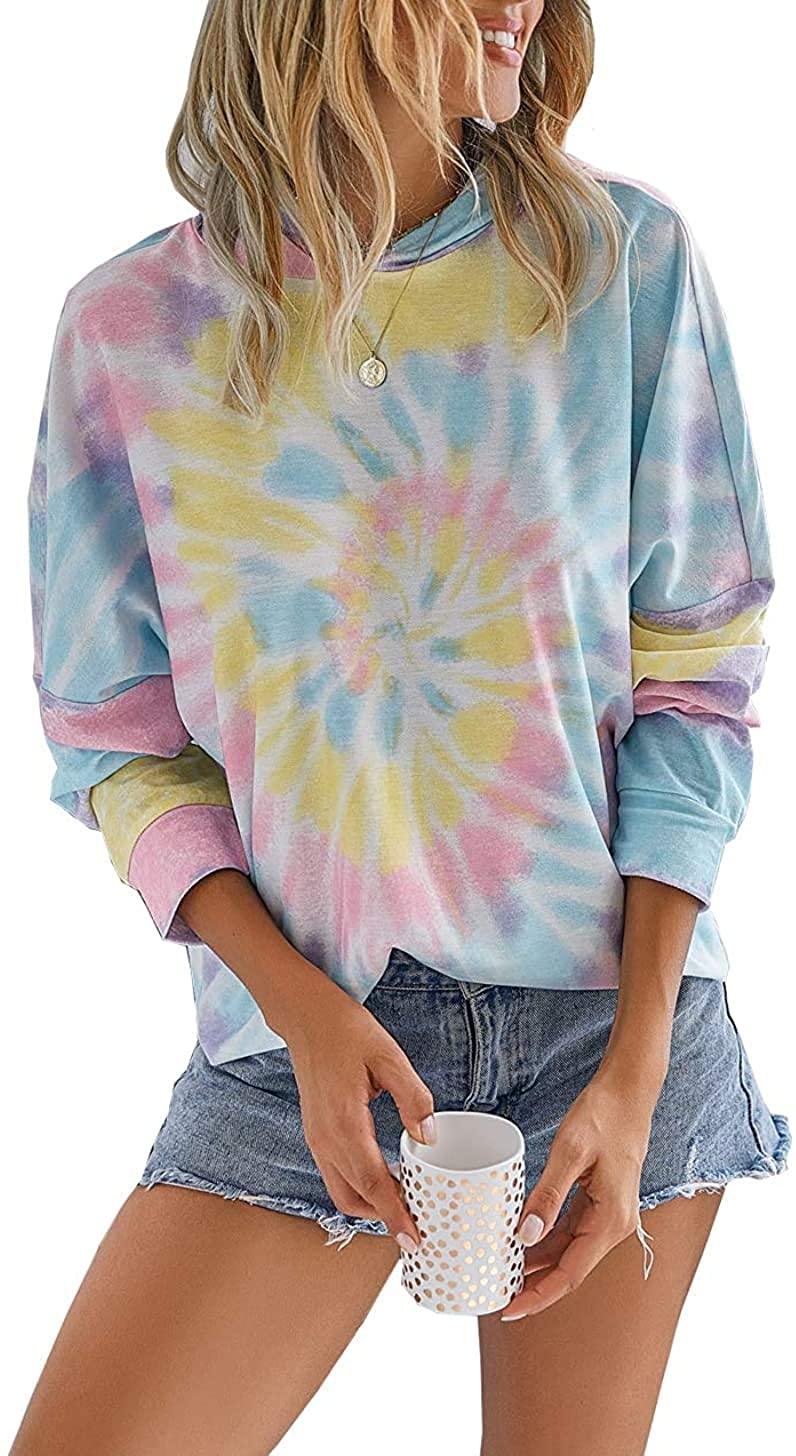 GOORY Women's Long Sleeve Hoodie Pullover Casual Tie Dye Sweatshirts Loose Colorblock Hooded Tops