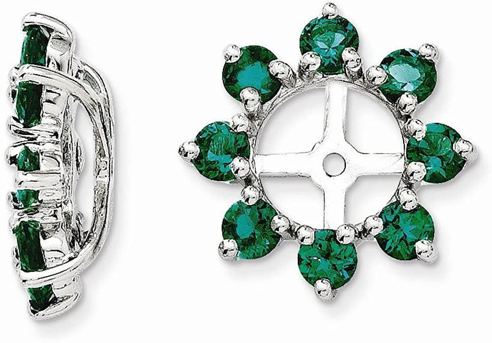 Sterling Silver Created Emerald Earring Jacket
