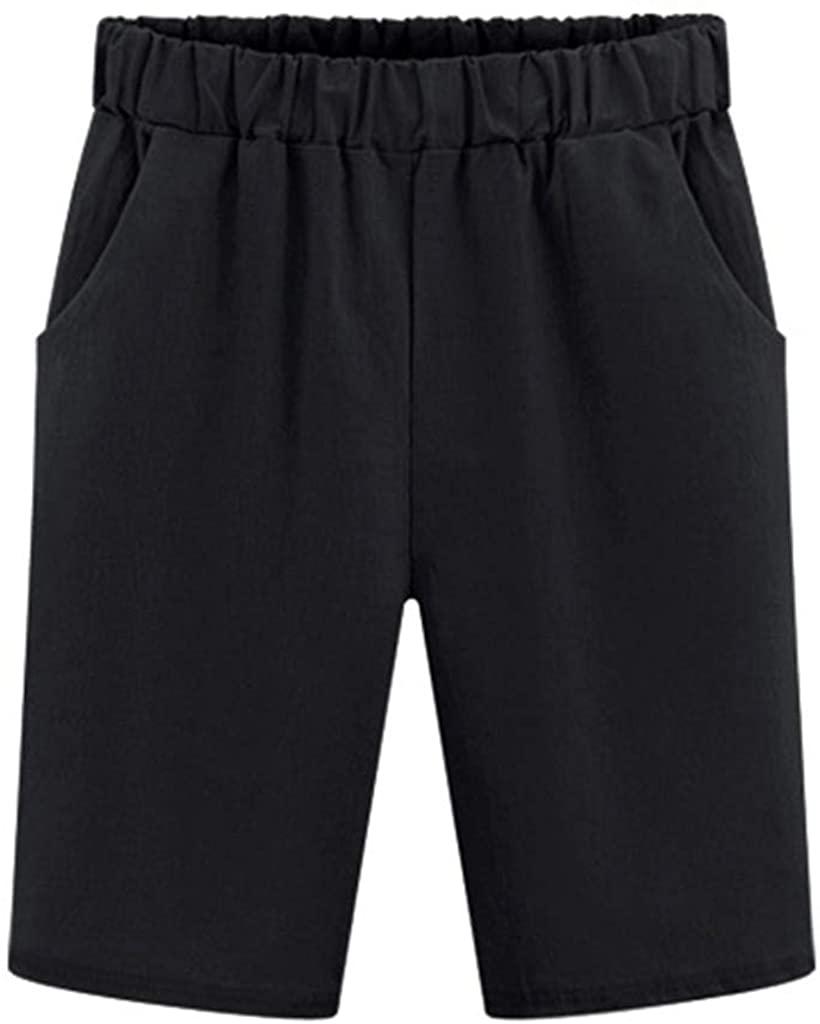 JESPER Women Elastic Waist Casual Knee Length Shorts Ladies Denim Straight Leg Pant Plus Size Black