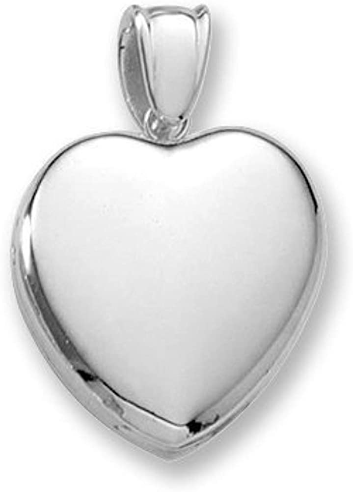 18k Premium Weight White Gold Heart Picture Locket - 3/4 Inch X 3/4 Inch in 18K with Engraving