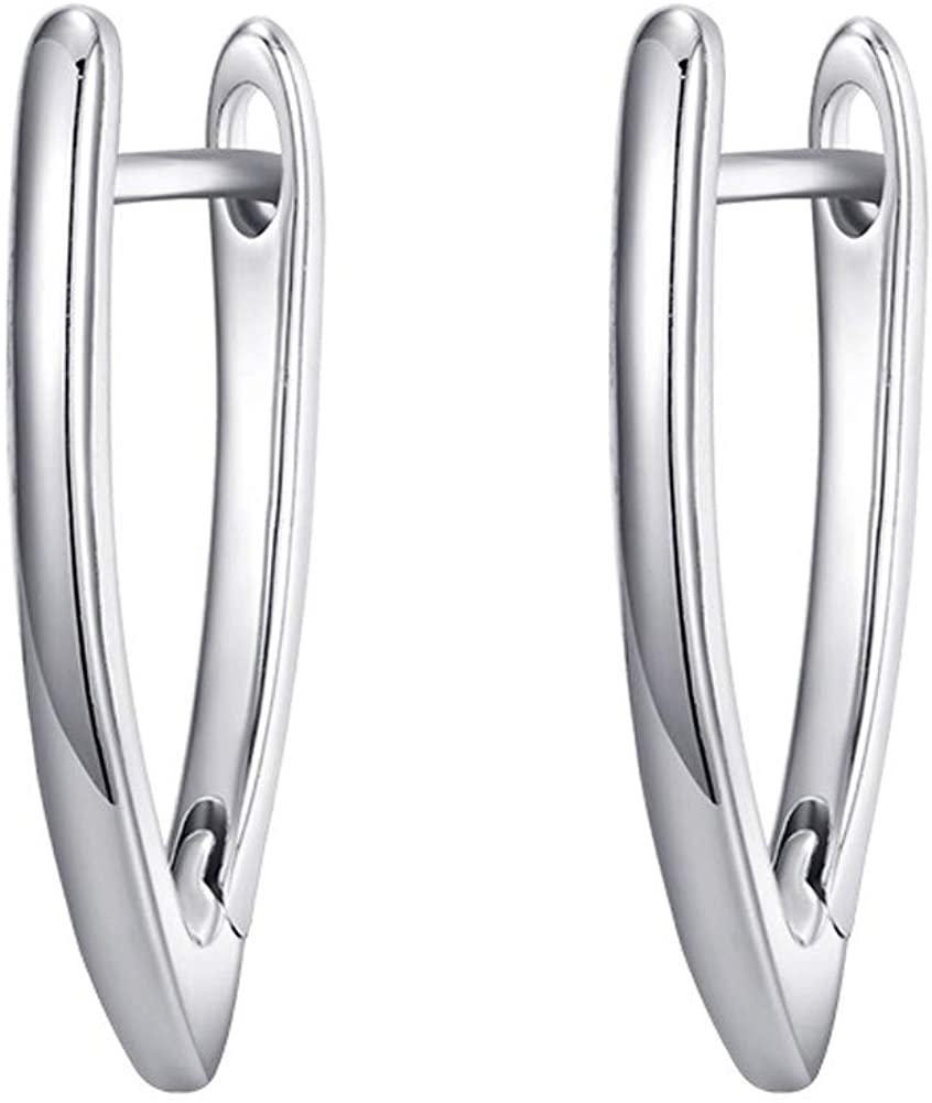 DMQ Letter V-Shaped Huggie drop Earrings for women White gold plated earrings jewelry