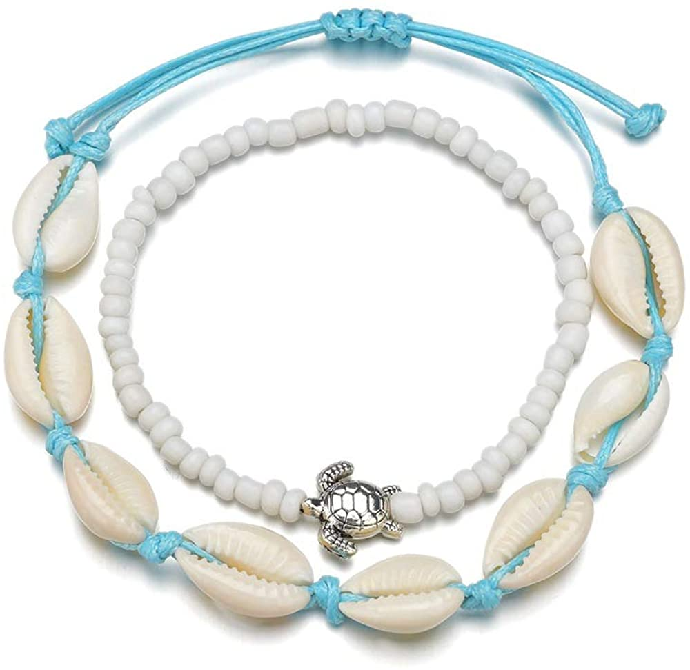 Boho Shell Beads Anklets Set Sea Turtle Starfish Ankle Bracelets Chain Beads Foot Jewelry for Women and Girls