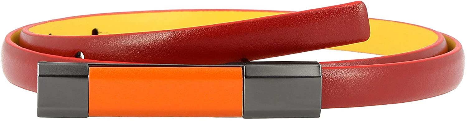 DUDU Womens Belt in Genuine Leather Two Tones Made in Italy Thin 12mm Shortened with Snap-on Buckle Red of 105 cm