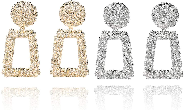 Zealmer Women Gold & Sliver Plated Geometric Dangle Earrings (Pack of 2)