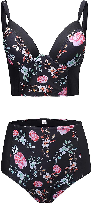 JUZIV Women Printed Bikini Swimwear Push up Bralette Elegant Cheeky Bottom Swimsuit Two Piece