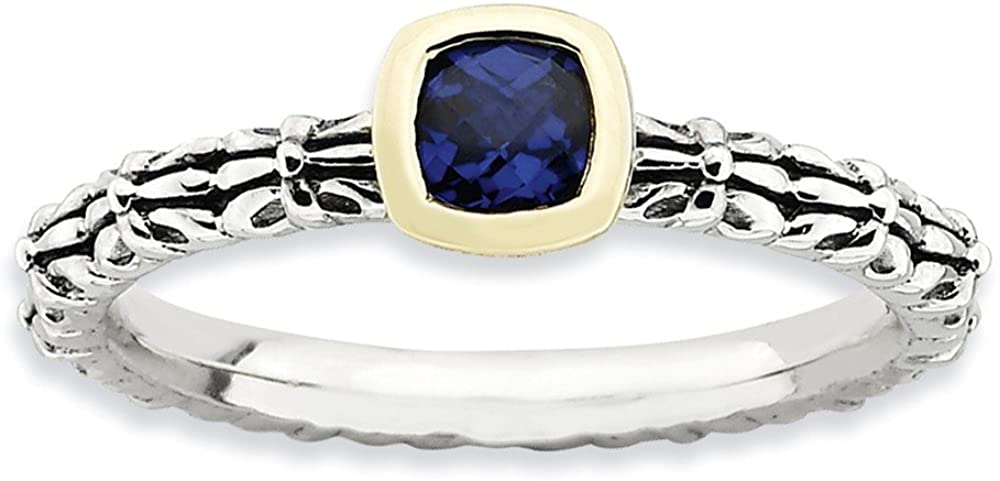 Beautiful White and yellow gold 14K Sterling Silver & 14k Stackable Expressions Checker-cut Cr. Sapphire Ring