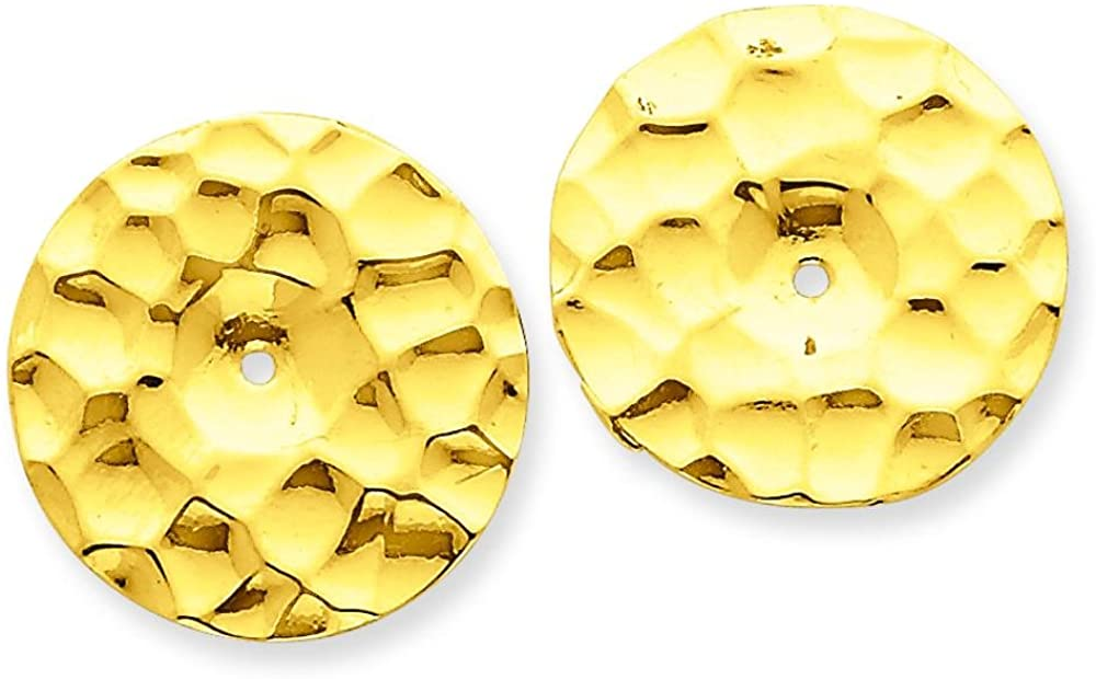 14K Yellow Gold Hammered Disc Earring Jackets
