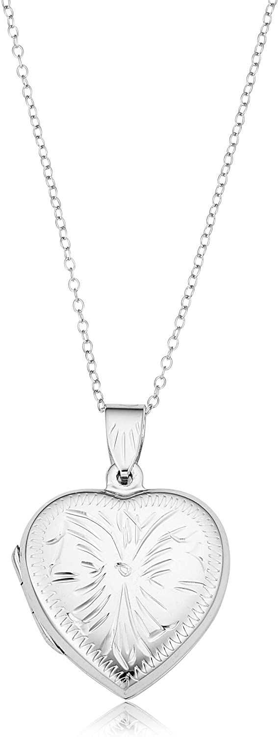 KoolJewelry Rhodium Plated 925 Sterling Silver Heart Locket Pendant Picture Necklace (18 inch)