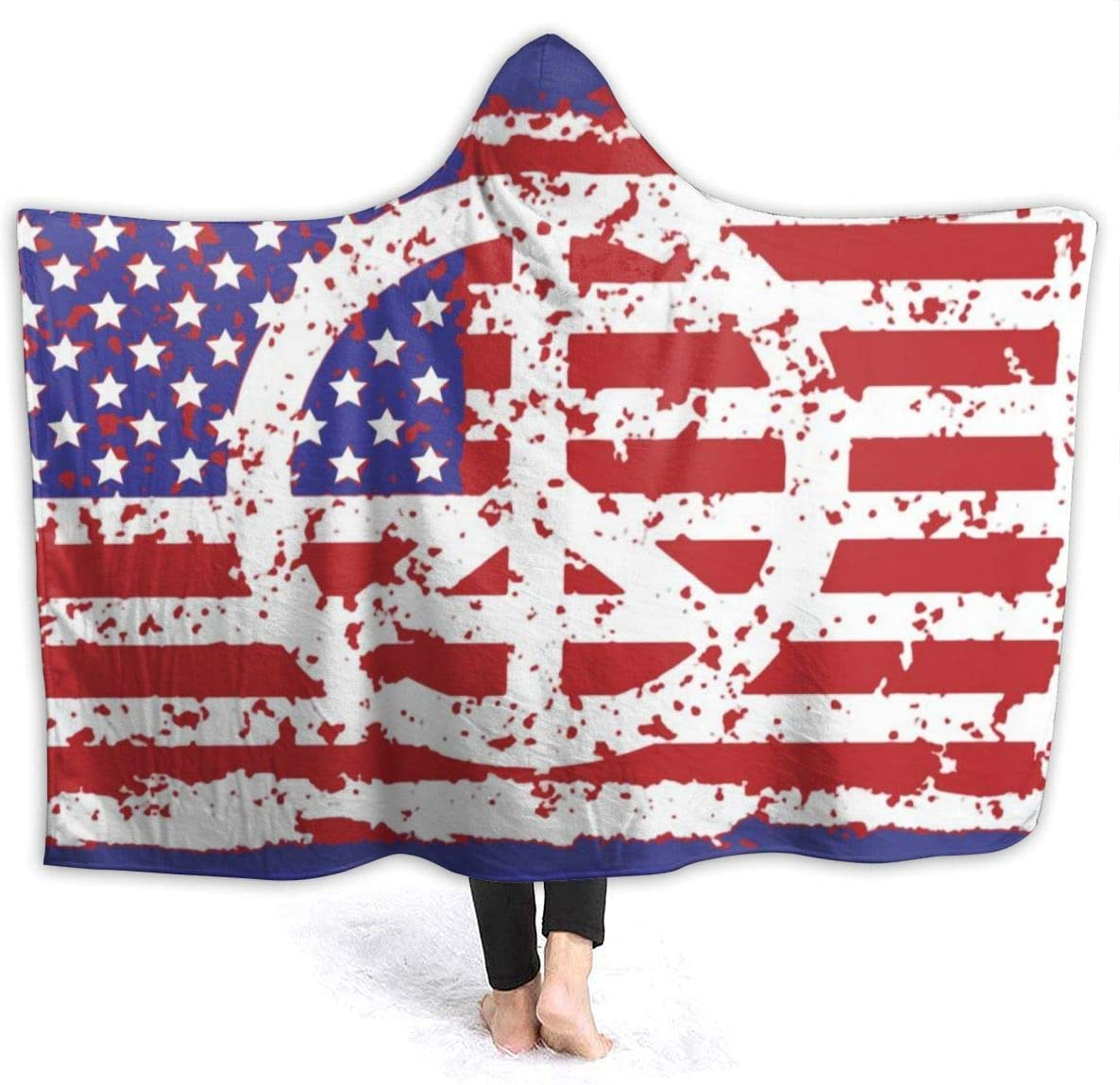AUISS Warm Hoodie Blanket American National Peace Hooded Throw Wrap Cape Cloak Bathrobe Womens Durable Home Office Shawl Flannel with Sleeves