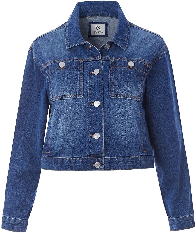 RK RUBY KARAT Womens Boxy Cropped Long Sleeve Denim Jacket Outwear with Pockets