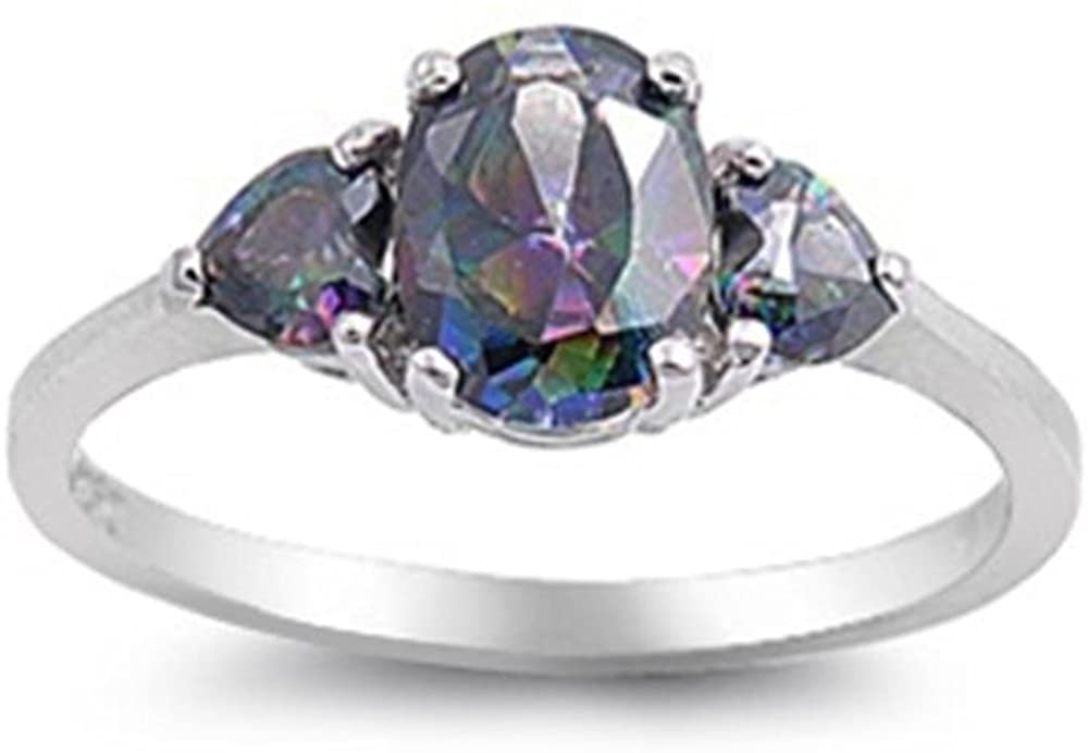 Glitzs Jewels Sterling Silver Engagement Antique Style Three Stone Heart Ring, 8mm Choose Your Color
