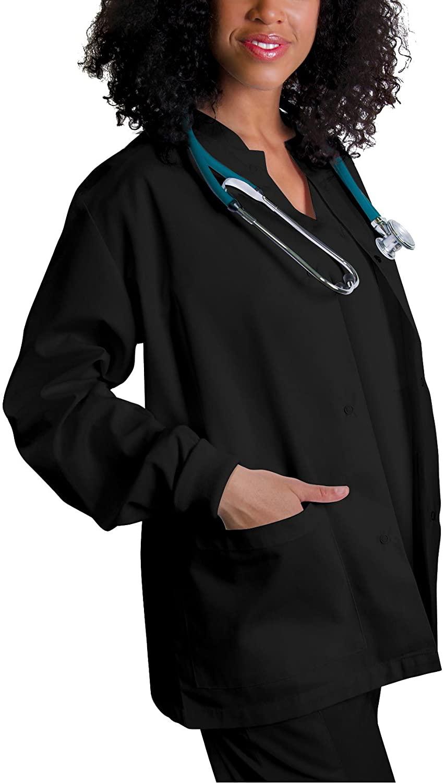 Adar Universal Scrubs for Women - Round Neck Warm-Up Scrub Jacket - 602 - Black - 3X