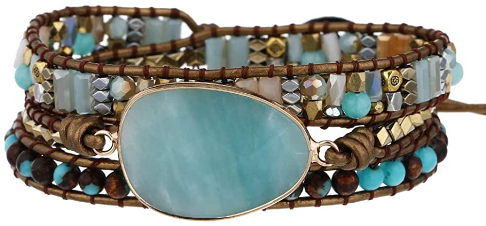 Plumiss Boho Handmade DHgateite Stone Bracelets Multiple Beads Mixed 3 Wraps Bracelet for Women