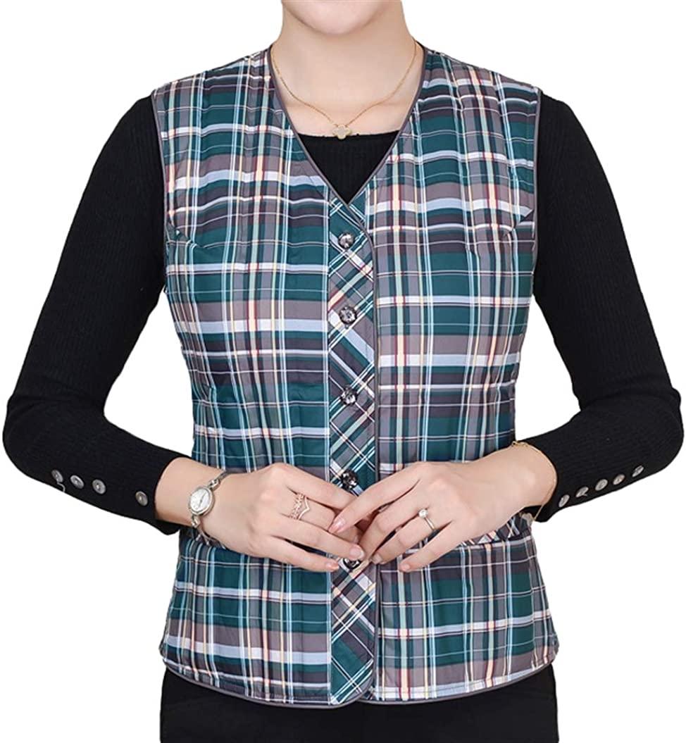 Chickle Womens Down Vest Waistcoat Plaid Sleeveless Jacket