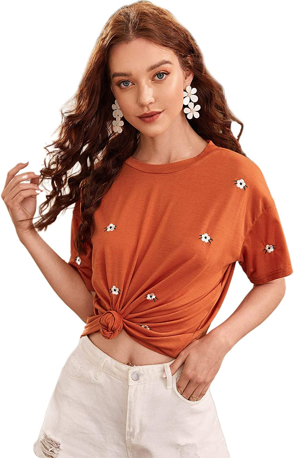 Romwe Women's Casual Embroidery Floral Short Sleeve Basic Summer Tee Tops T-Shirt