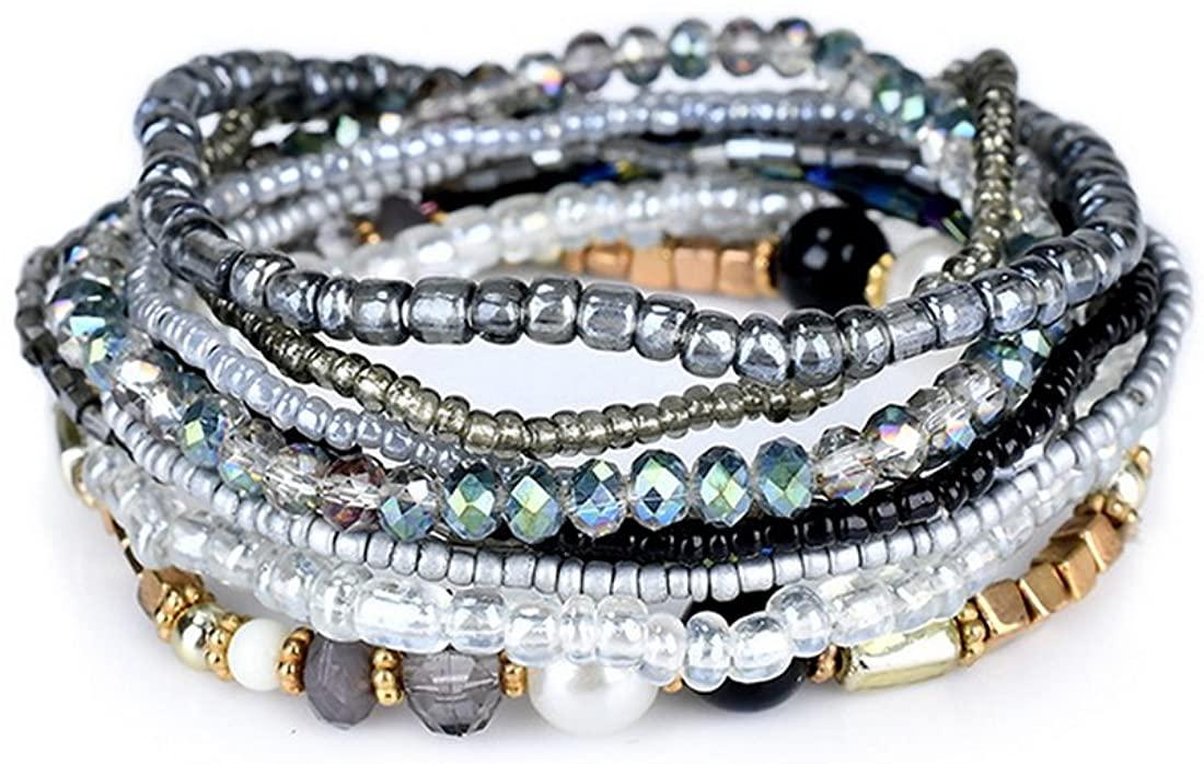 MengPa Beaded Bracelets for Women Girls Bohemian Stretch Stackable Layering Strand Statement Jewelry
