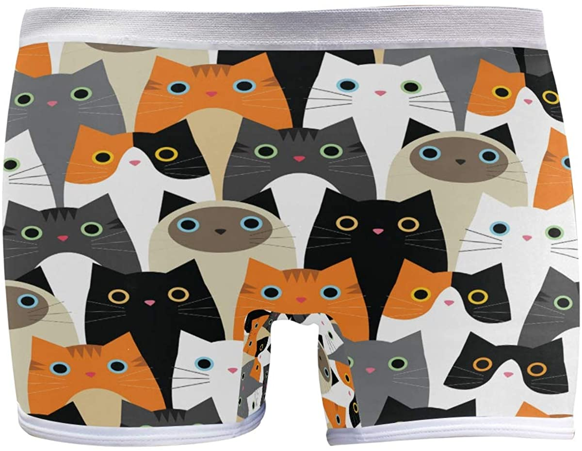 SLHFPX Womens Underwear Boxer Briefs Cute Funny Cartoon Cats Face Ladies Comfort Boy Shorts Panty