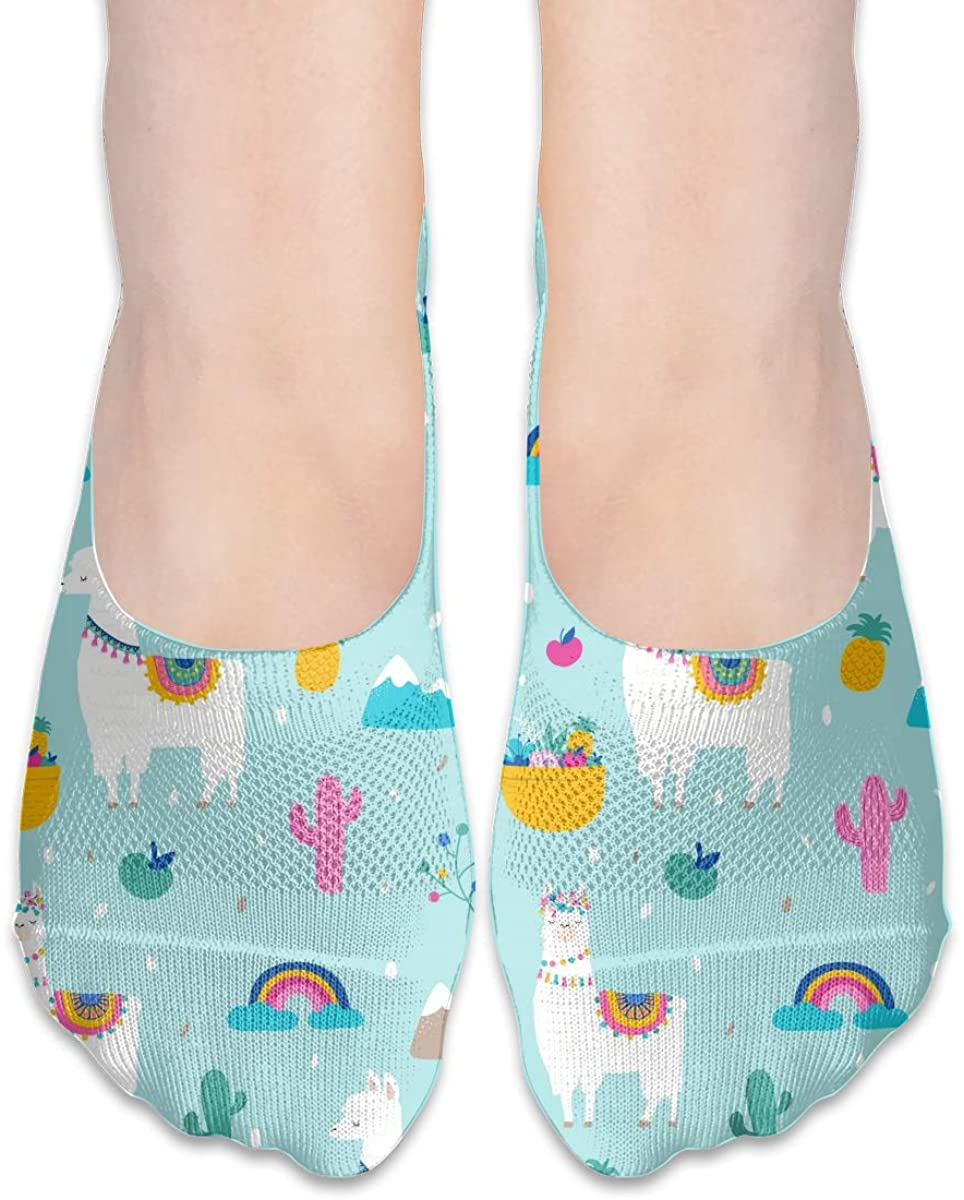 No Show Socks For Women Llama Alpaca Cactuses Low Cut Sock Liners Invisible Socks