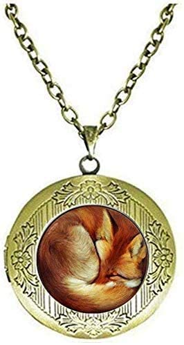 Fox Locket Necklace red Fox Jewelry Animal Jewelry Art Picture Jewelry