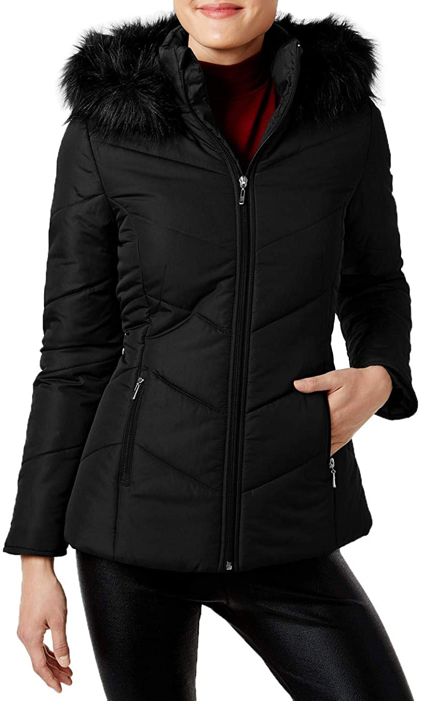 Maralyn & Me Womens Faux Fur Trim Puffer Coat Jacket