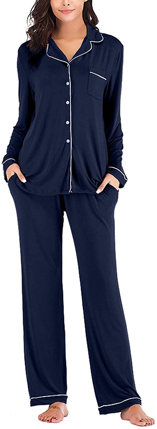 Women's Two-Piece Classic Knit Pajama Sets Long Sleeve Button Down Sleepwear
