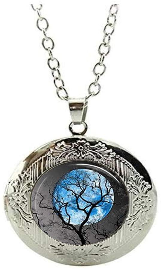 Full Moon Locket Necklace Tree Jewelry Glass Cabochon Locket Necklace Night River Locket Necklace