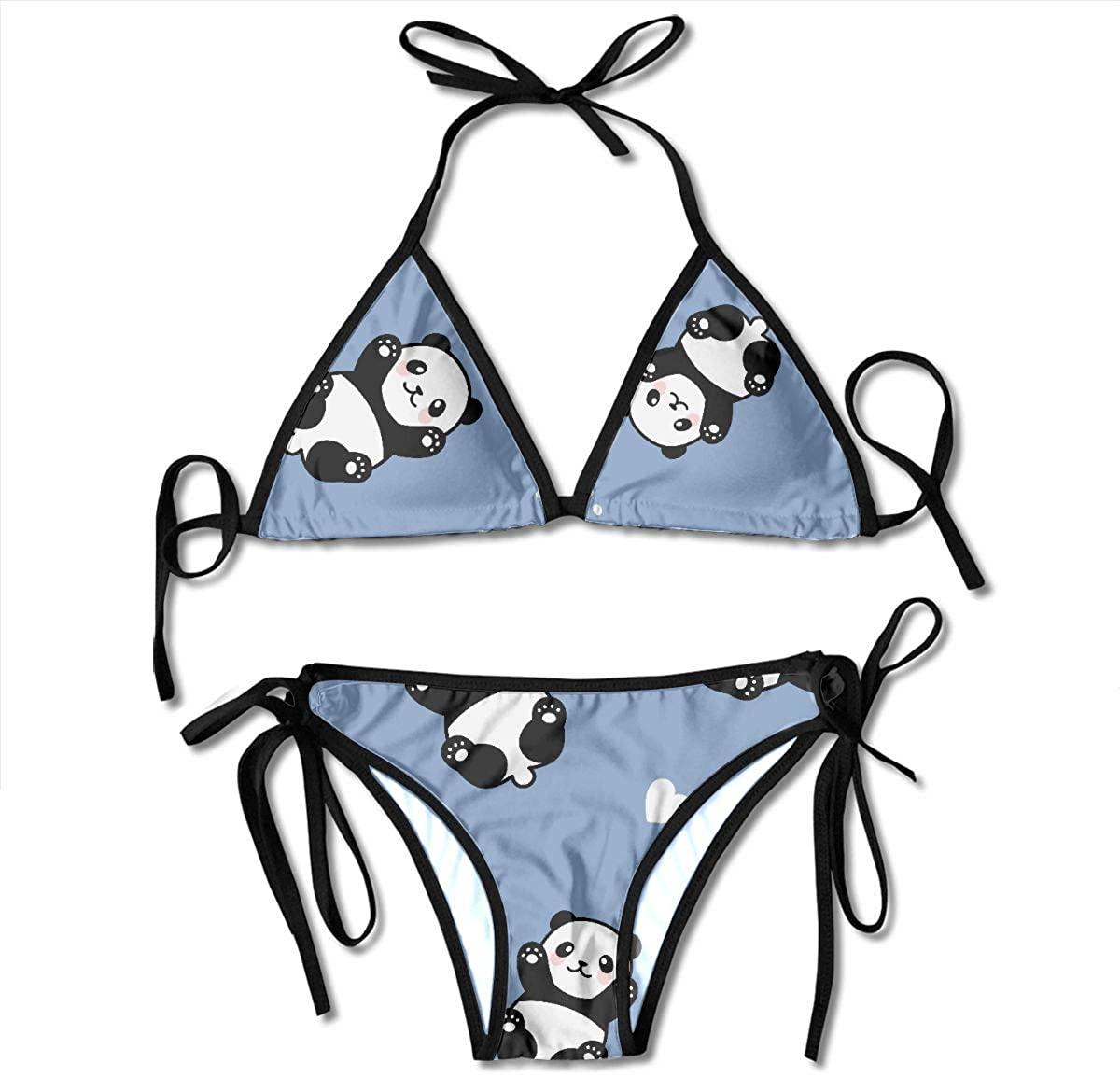 Xuyonh Women Bathing Suits Chinese Cute Small Panda for Child Padded Bikinis Set Summer Two Piece Swimsuit Bathing Suits Beach Swimwear for Women Lady Fun Swimsuits for Women