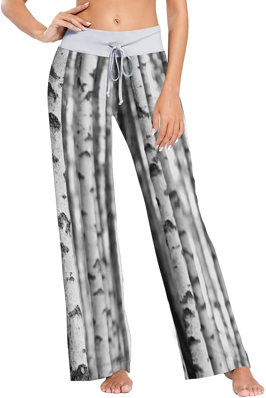 VVIEER Tree Birch Forest Women Loose Palazzo Casual Drawstring Sleepwear Print Yoga Pants