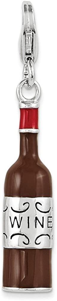 Sterling Silver & Enamel Red Wine Bottle w/Lobster Clasp Charm