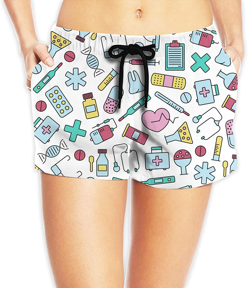 Medical Elements Women's Beach Shorts Board Shorts with Pocket Swimming Trunks