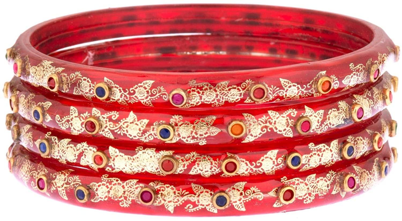 Efulgenz Fashion Jewelry Indian Bollywood Gold Crystal Floral Acrylic Resin Wedding Bracelet Bangle Set