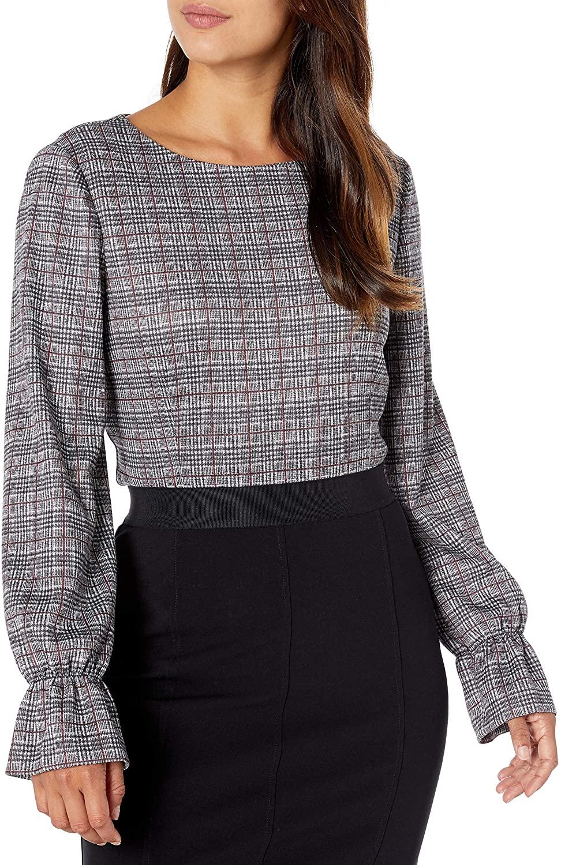 NINE WEST Women's Long Sleeve Knit Plaid Top