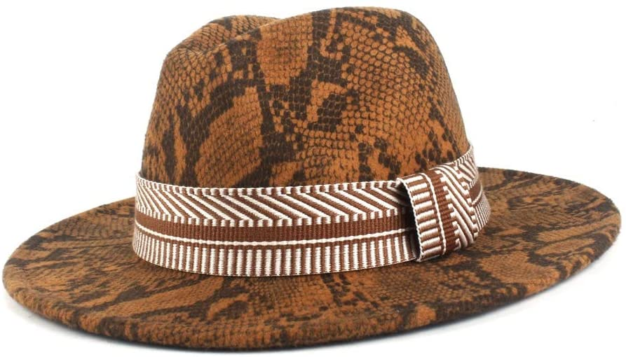 SHENLIJUAN 2019 Autumn Winter Fedora Hat Mens Fashion Wool Polyester Jazz Hat Ladies Cloth Belt Decoration (Color : 8, Size : 56-58CM)