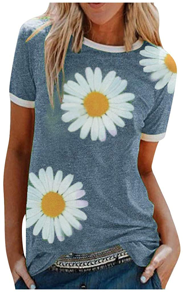 MmNote Womens T Shirts Tops Summer Short Sleeve Casual Cute Floral Daisy Printed Loose Tunic Blouses