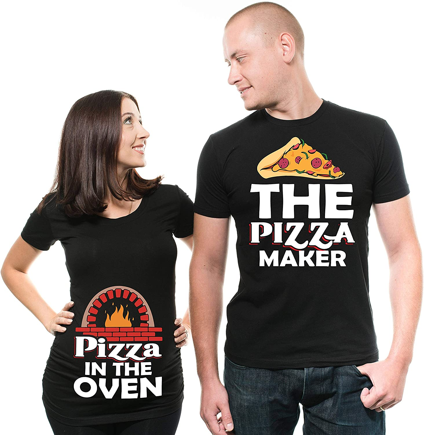 Couple Pregnancy Announcement T-Shirts Dad Maternity Pizza Maker Funny True Pregnancy Couple Matching Tee Shirts