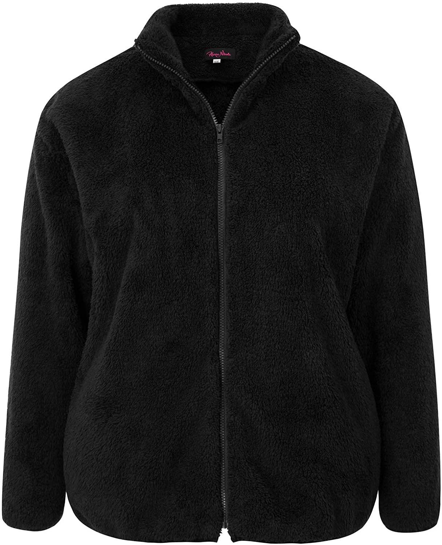 Hanna Nikole Women's Plus Size Casual Fleece Fuzzy Faux Shearling Winter Jacket Outwear Coat