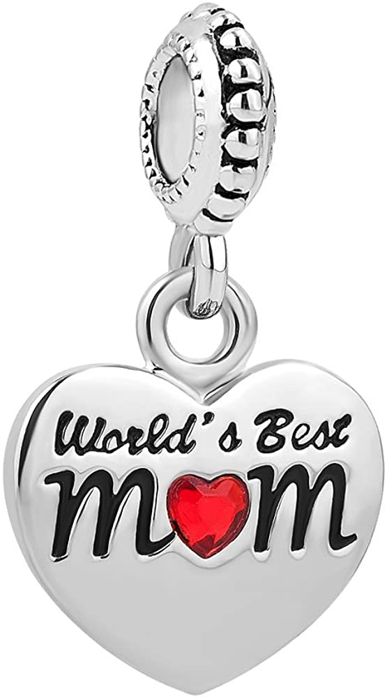 LovelyJewelry Mom Birthday Gifts Love Family Charms Heart Beads for Charms Bracelets
