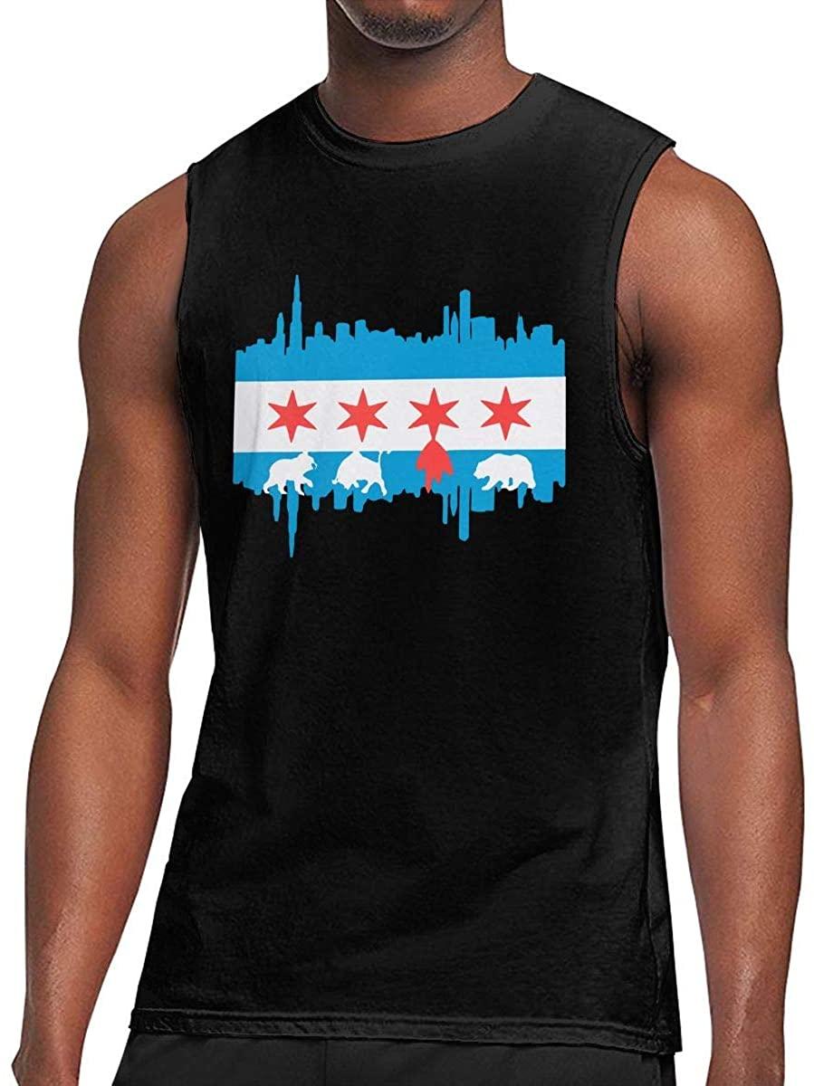 GUAHUAXIANG Mens Chicago Flag Skyline Bear Sleeveless T-Shirt Cotton Gym Muscle T-Shirts Black