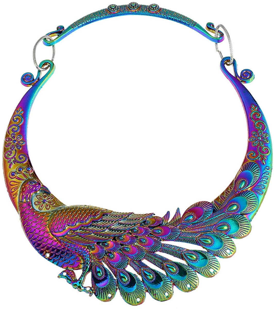 Fld Retro Vintage Ethnic Carved Peacock Chunky Bib Collar Choker Necklace for Women Indian Exaggerated Jewelry Collared Vintage Necklace