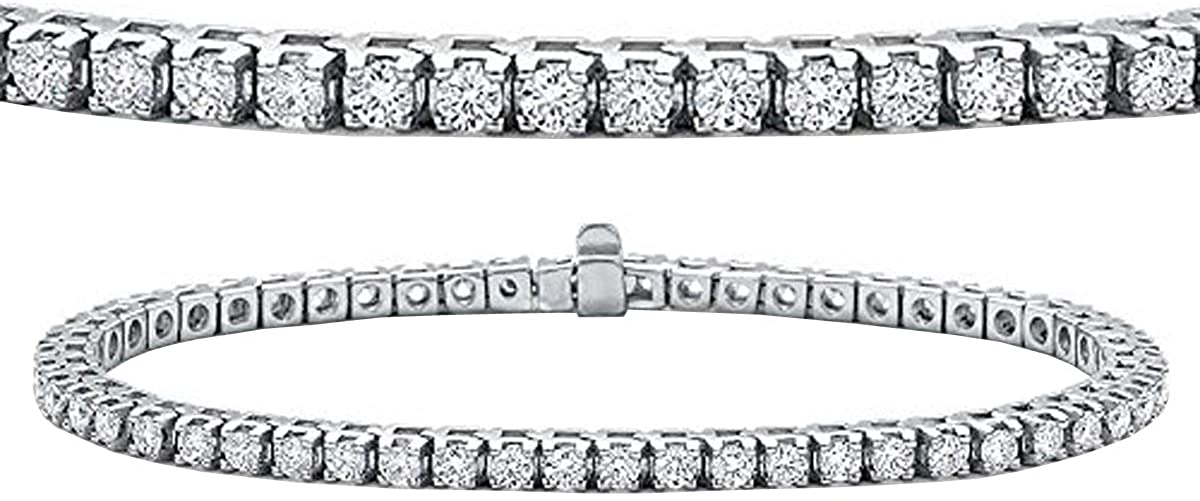 14K Round Lab Grown Diamond Ladies Tennis Bracelet, White Gold