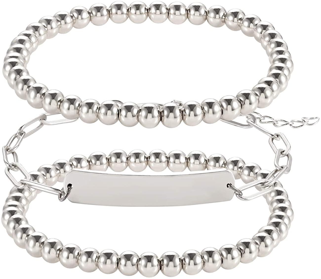 Beaded Bracelets for Women Stackable Stretch Strings Gold Silver Ball Beads Bracelets Paperclip Chain Bar Charm Friendship Bracelets Set for Men Girls