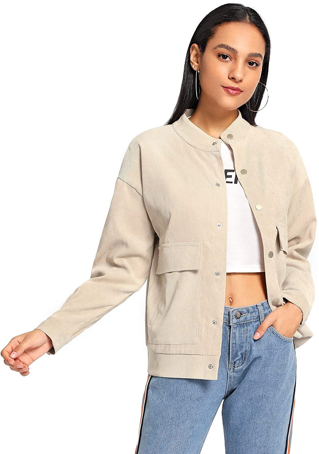 Verdusa Women's Dual Pocket Corduroy Solid Jacket Single Breasted Coat Outer