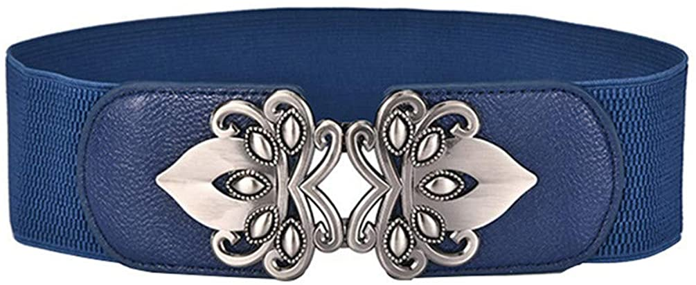 Vintage Belts For Women Diamond Buckle Wide Elastic Stretchy Waist Belt Female Joker Belt