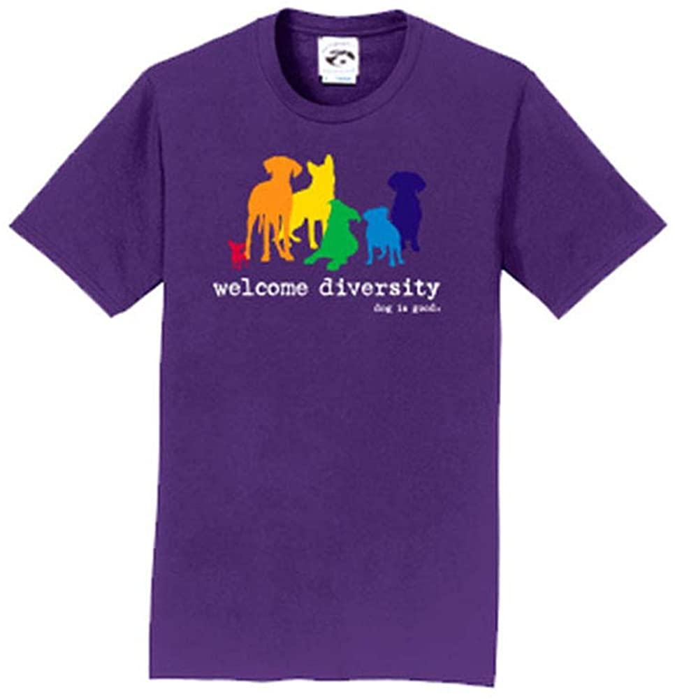 Dog is Good Short Sleeve T-Shirt Welcome Diversity - Great Gift for Dog Lovers, Made with High Premium Materials, Women's Fit