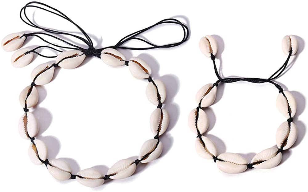 Exlura Natural Shell Cowrie Necklace Bracelet Anklet Handmade Adjustable Hawaii Beach Summer Boho Seashell Choker for Women Girls