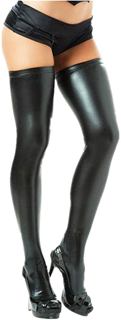 iEFiEL 1 Pair Women's Wet Look Spandex Latex Rubber Thigh High Stay up Stockings Anti Skid Long Socks(Size Small)