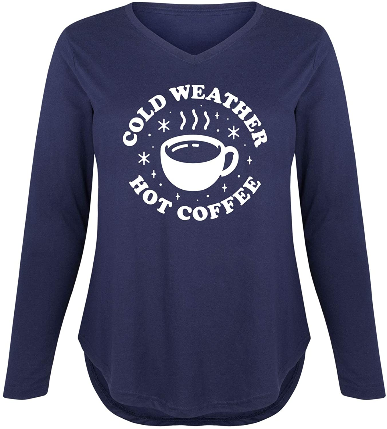 Cold Weather Hot Coffee - Ladies Plus V-Neck Long Sleeve Tee